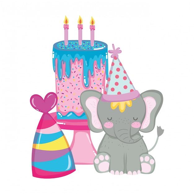 Carino e piccolo elefante con cappello di partito Vettore Premium