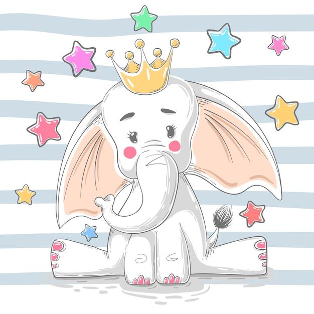 Carino elefante principessa Vettore Premium