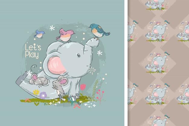 Carino elefanti e uccelli cartoni animati e seamless Vettore Premium