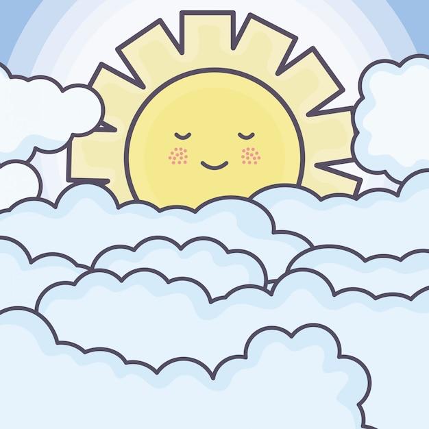 Carino estate sole e nuvole caratteri kawaii Vettore gratuito