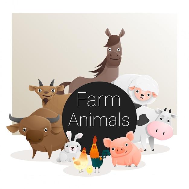 Carino famiglia di animali con animali da fattoria Vettore Premium