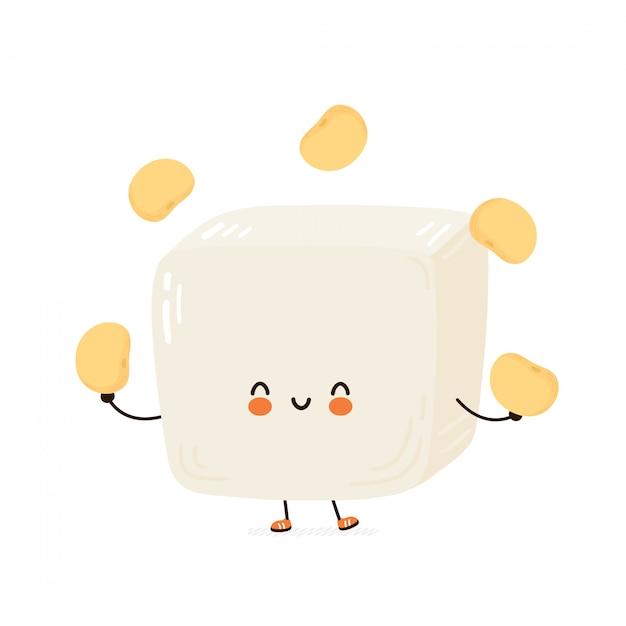 Carino felice divertente tofu giocoleria fagioli di soia. personaggio dei cartoni animati disegno a mano illustrazione di stile. isolato su sfondo bianco Vettore Premium