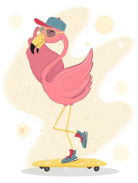 Carino felice fenicottero rosa indossare cappello e occhiali da sole skateboard, elemento piatto vettoriale di carattere Vettore Premium