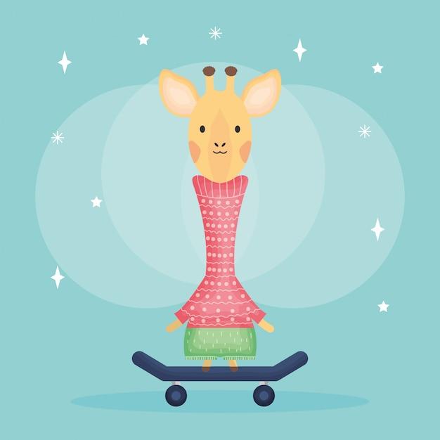 Carino femmina giraffa nel personaggio di skateboard Vettore Premium