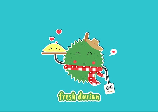 Carino giardiniere durian Vettore Premium