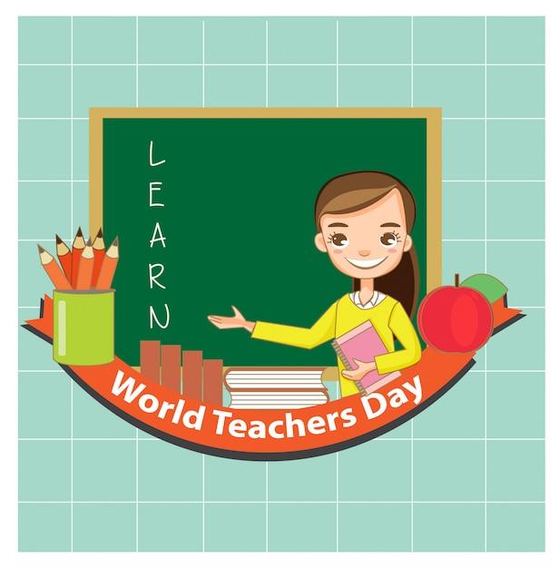 Carino giovane insegnante sorriso e felice con l'insegnamento Vettore Premium