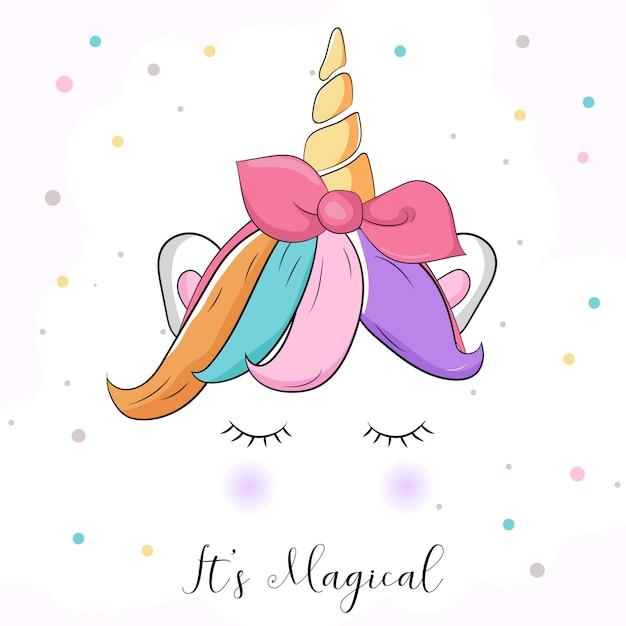 Carino grafico colorato unicorno Vettore Premium