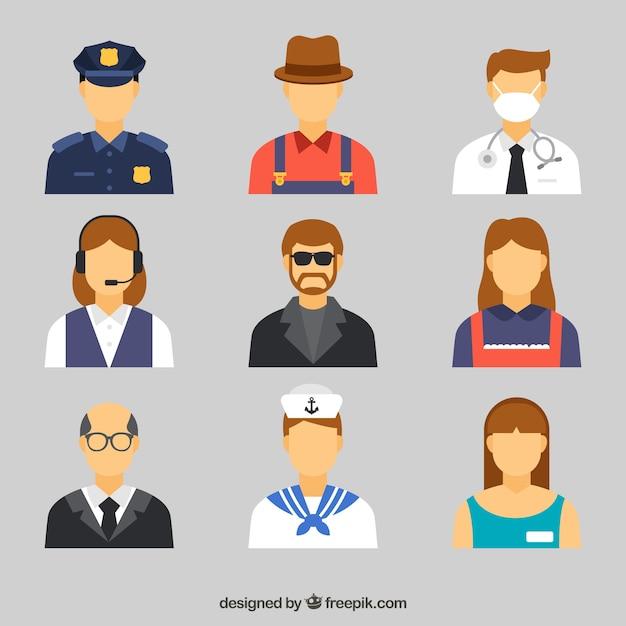 Carino insieme di avatar con diversi posti di lavoro Vettore gratuito