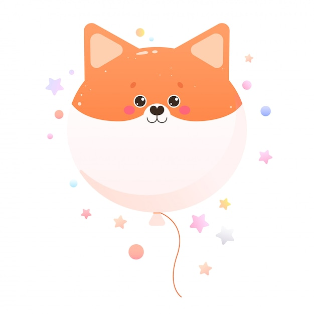 Carino kawaii shiba, fox. animale isolato Vettore Premium