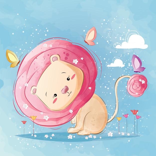Carino leone dai capelli rosa Vettore Premium