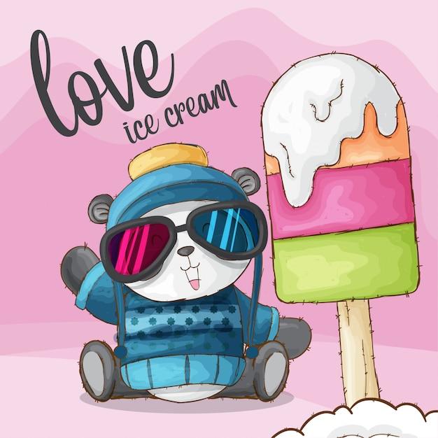 Carino panda animale amore gelato-vettore Vettore Premium