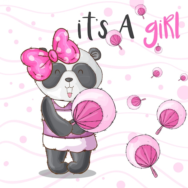 Carino panda animale carino ragazza-vettoriale Vettore Premium