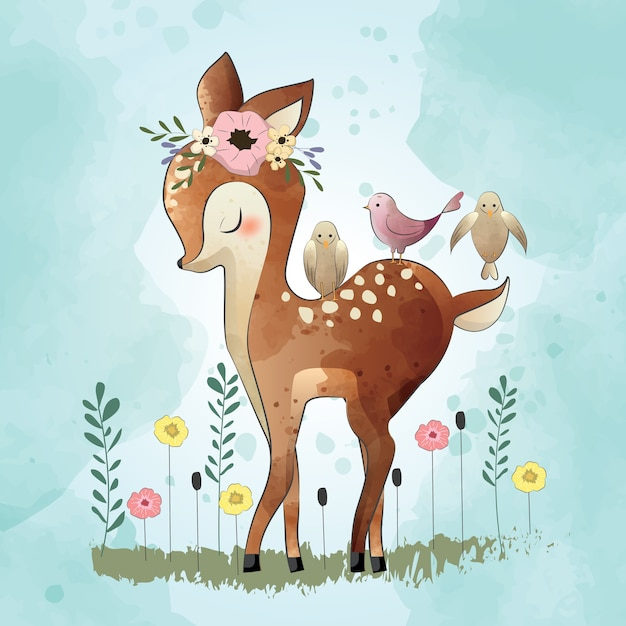 Carino piccolo cervo e suoi amici Vettore Premium