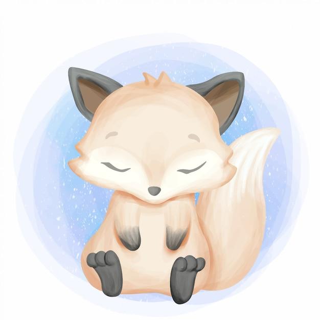 Carino piccolo foxy sentirsi assonnato Vettore Premium