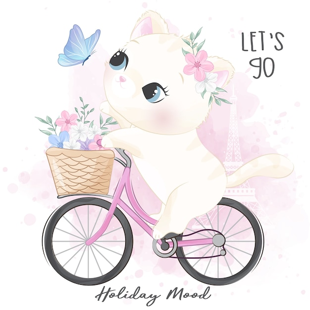 Carino piccolo gattino in sella a una bicicletta Vettore Premium