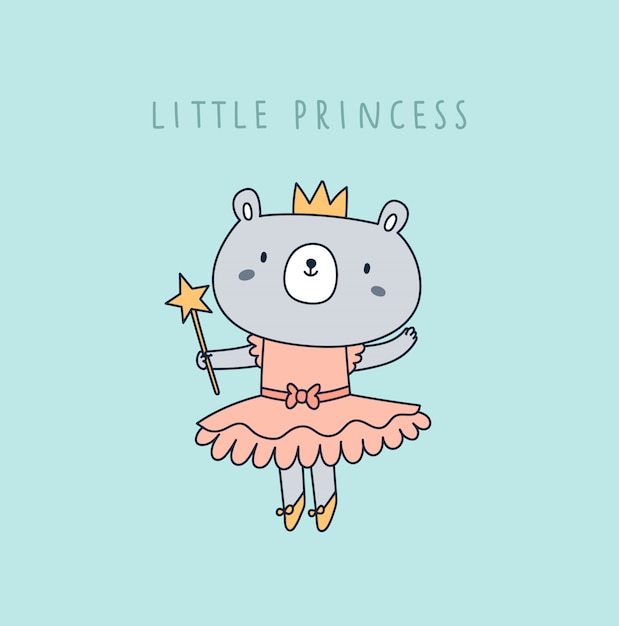 Carino piccolo orso principessa in corona e vestito rosa isolato sulla menta Vettore Premium