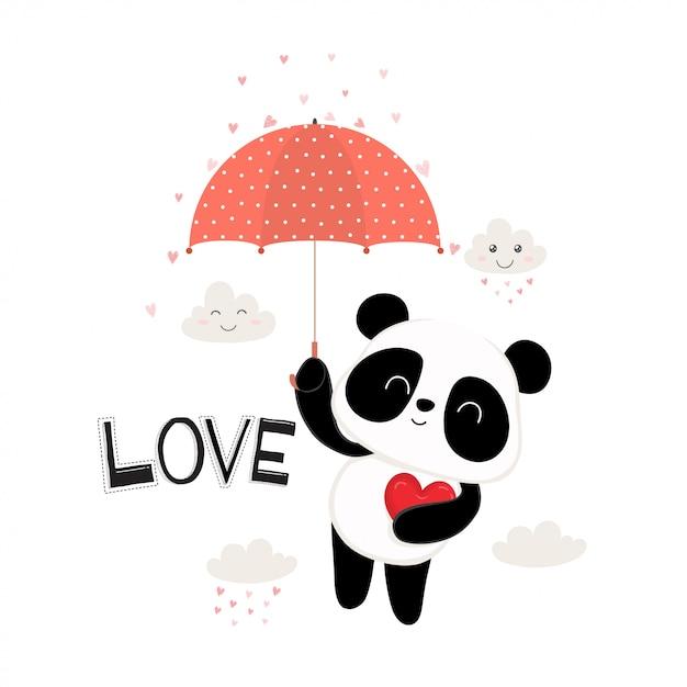 Carino piccolo panda con ombrello rosso. Vettore Premium