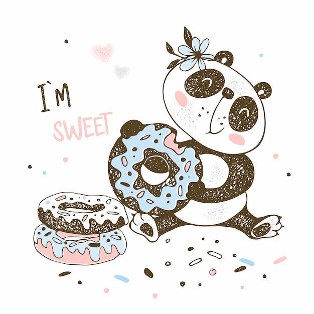 Carino piccolo panda mangia ciambelle dolci. Vettore Premium