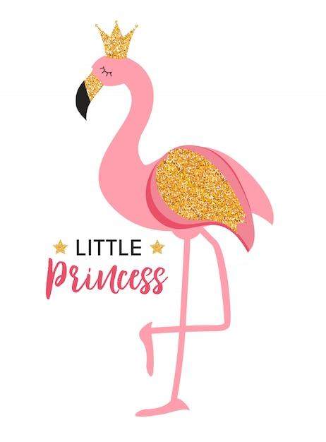 Carino piccolo principessa pink flamingo Vettore Premium