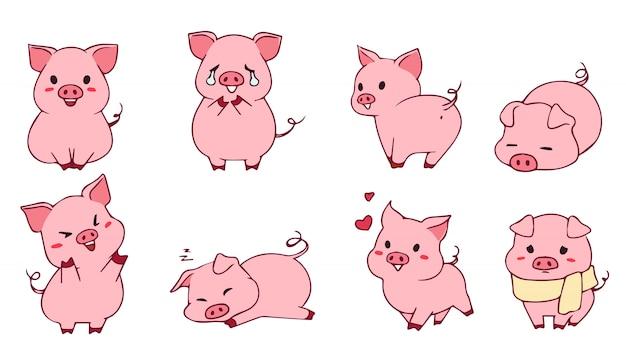 Carino piccolo set di porcellini. illustrazione disegnata a mano emoji divertenti. isolato su sfondo bianco Vettore Premium