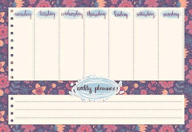 Carino planner settimanale con motivo di fiori e foglie Vettore Premium