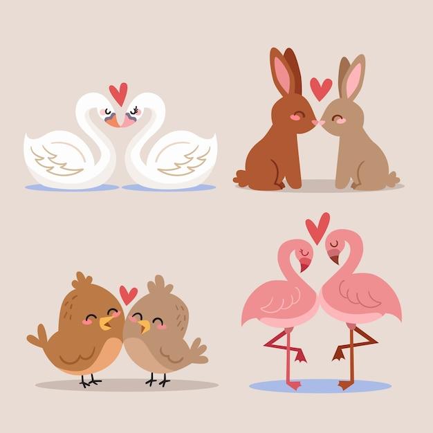 Carino san valentino coppia di animali Vettore gratuito