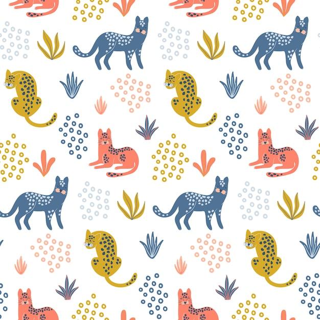 Carino seamless con colorati leopardi. Vettore Premium