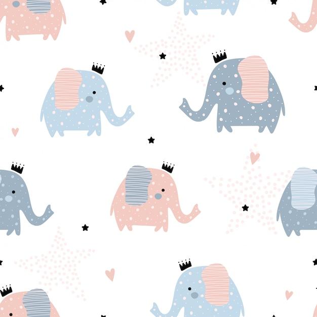 Carino seamless con elefanti. Vettore Premium