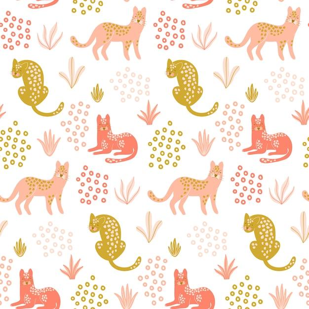 Carino seamless con leopardi. Vettore Premium