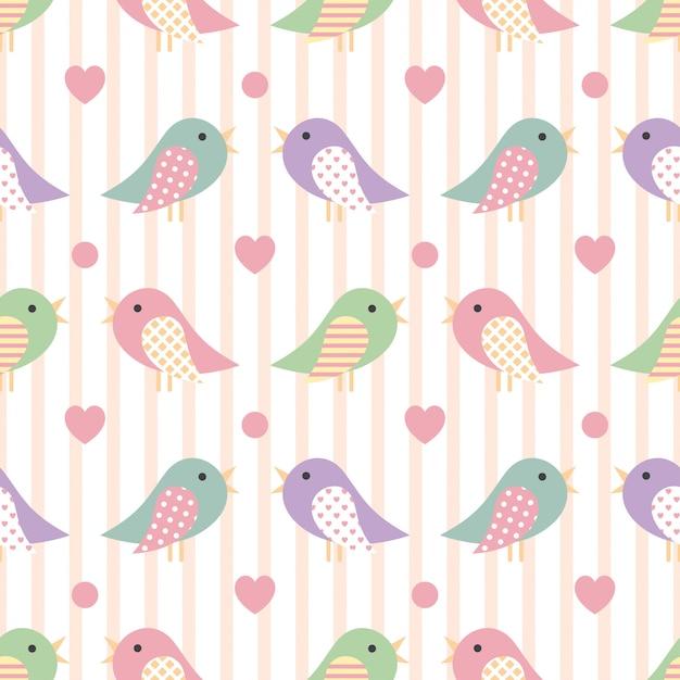 Carino seamless con uccelli colorati Vettore Premium