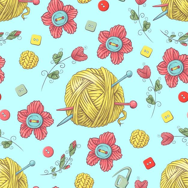 Carino seamless pattern di gomitoli di lana Vettore Premium