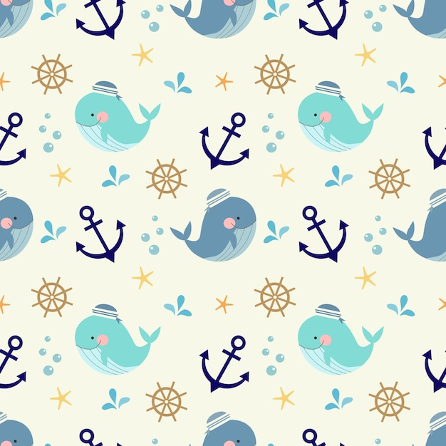 Carino seamless pattern di simboli balena, nautica e marini. Vettore Premium