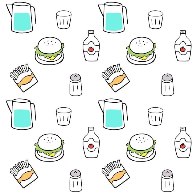 Carino seamless pattern fast food vettoriale. Vettore Premium