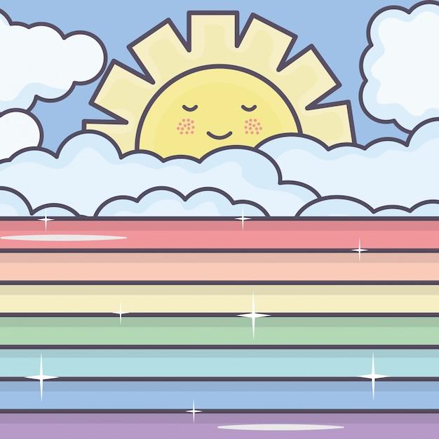 Carino sole estivo e nuvole con personaggi kawaii arcobaleno Vettore gratuito
