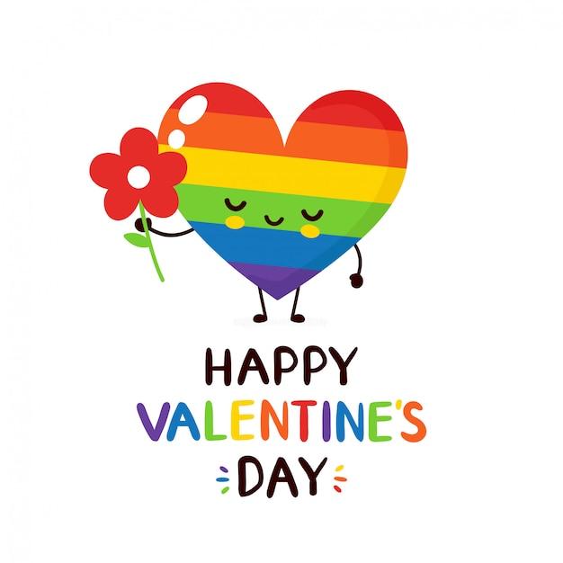 Carino sorridente felice arcobaleno lgbt cuore con fiori biglietto di auguri di san valentino Vettore Premium