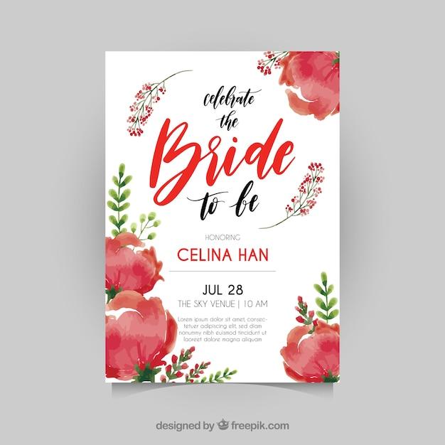 Carino sposa doccia invito con fiori rossi Vettore gratuito