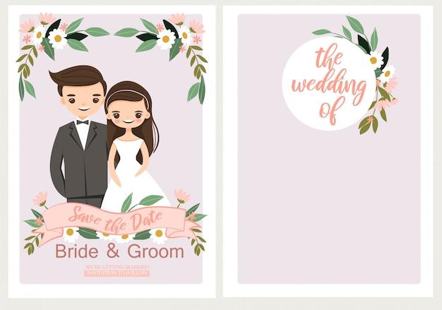 Carino sposa e lo sposo sulla scheda del modello di invito nozze Vettore Premium