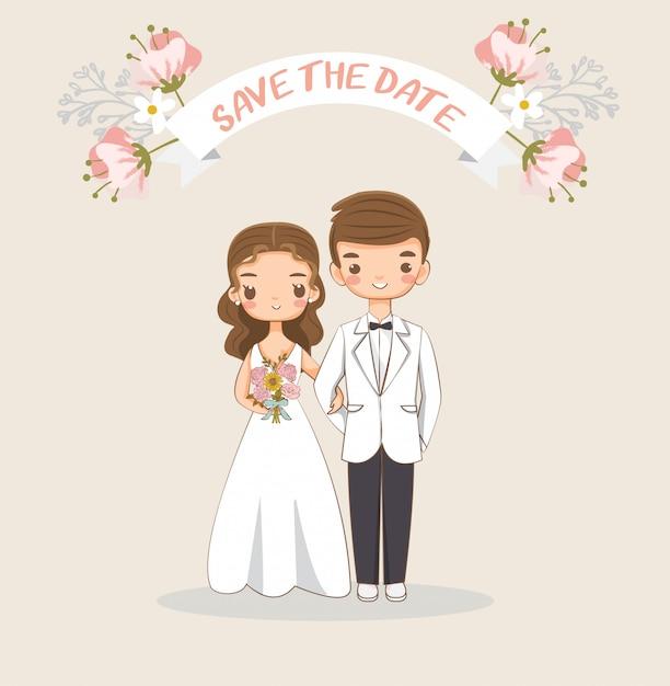 Carino sposa e sposo per la carta di inviti di nozze Vettore Premium
