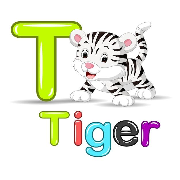 Carino tigre bianca bambino Vettore Premium