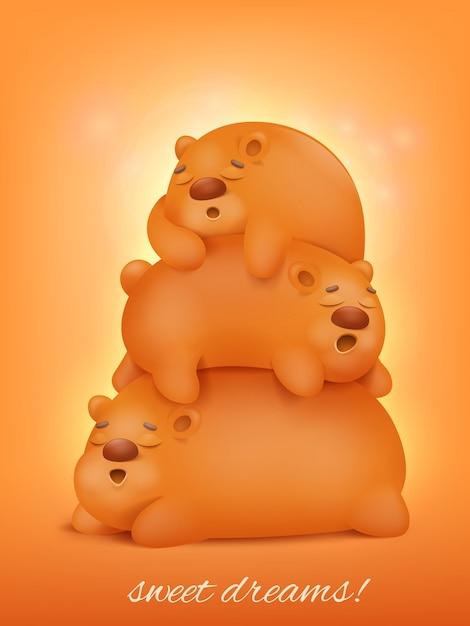 Carino tre orsi che dormono cartone animato animali kawaii. Vettore Premium