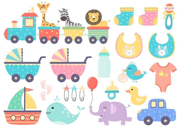 Carino treno isolato in due versioni - con animali divertenti e senza di loro. Vettore Premium
