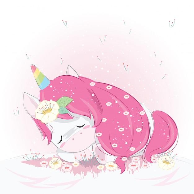 Carino unicorno che dorme a terra Vettore Premium