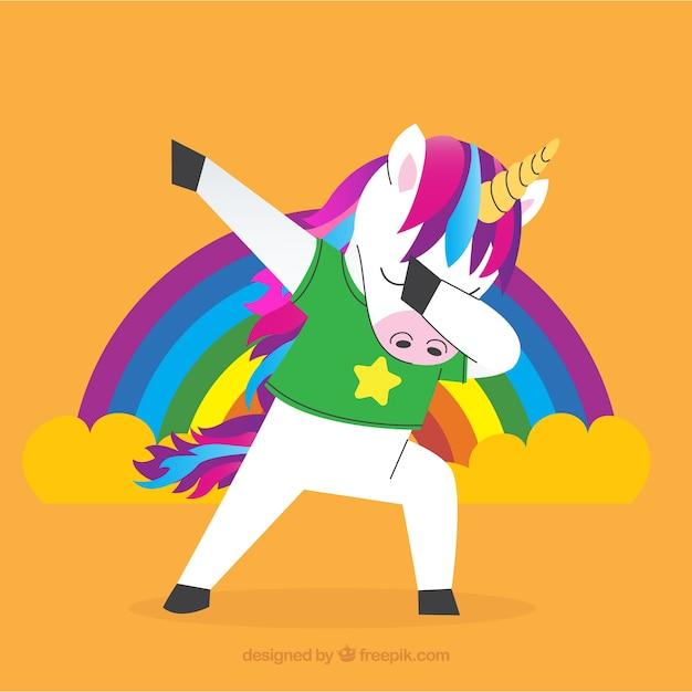 Carino unicorno che fa il movimento di tamponatura Vettore gratuito