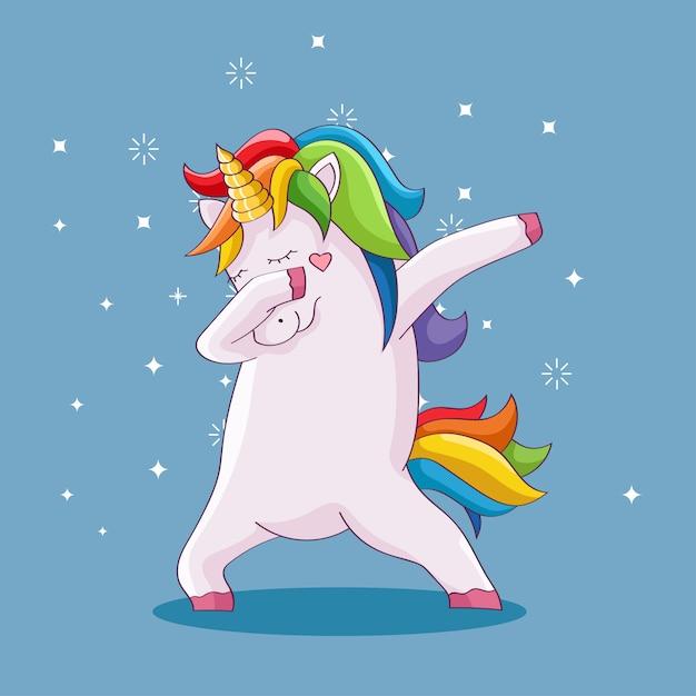 Carino unicorno facendo tamponando Vettore Premium
