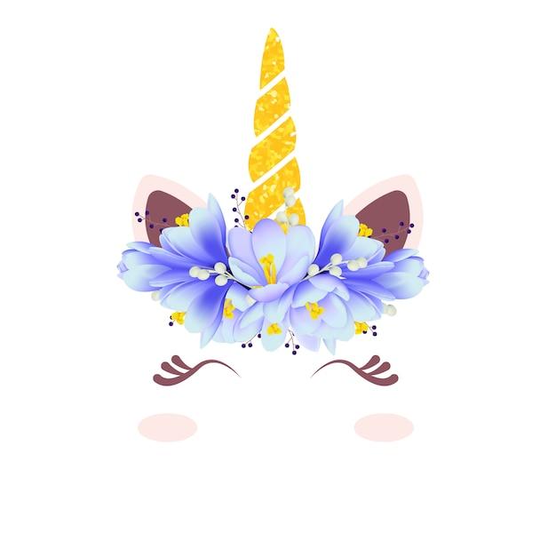 Carino unicorno floreale Vettore Premium