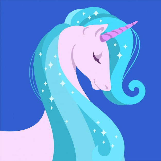 Carino unicorno magico Vettore Premium