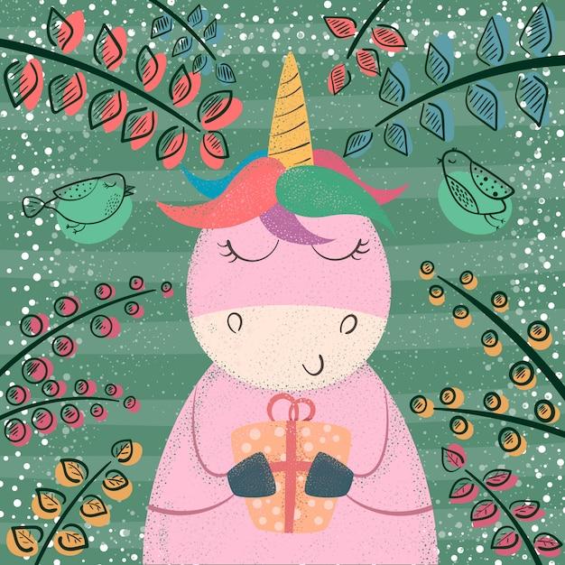Carino unicorno nella foresta magica Vettore Premium