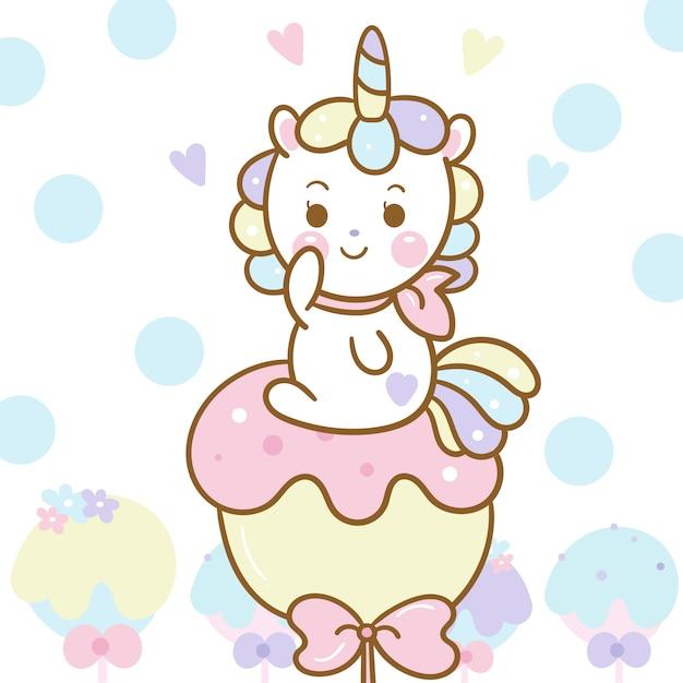 Carino unicorno vettoriale su caramelle pastello Vettore Premium