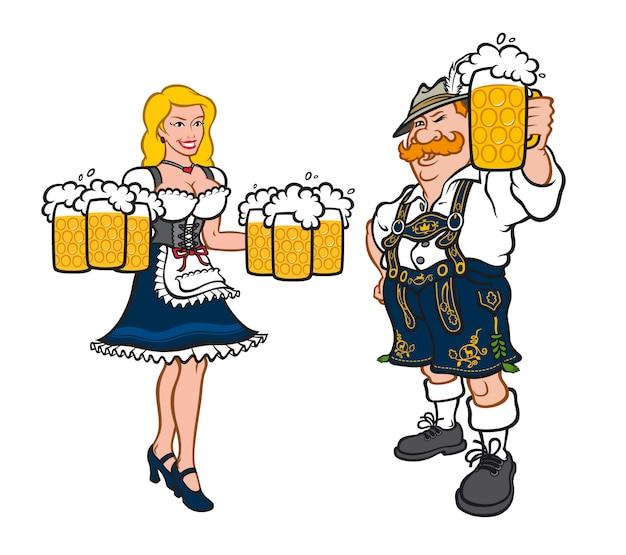 Carino uomo e donna in costumi nazionali tedeschi. Vettore Premium
