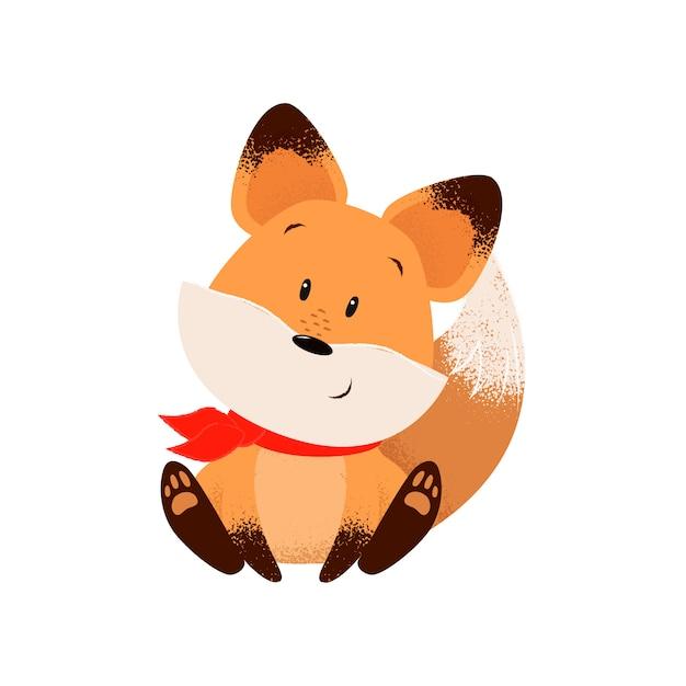 Carino volpe in sciarpa Vettore gratuito